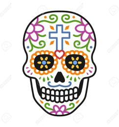 decorated skull calavera celebrating day of the dead line colorful art icon illustration stock [ 1300 x 1300 Pixel ]