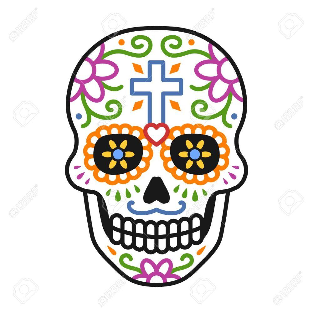 medium resolution of decorated skull calavera celebrating day of the dead line colorful art icon illustration stock