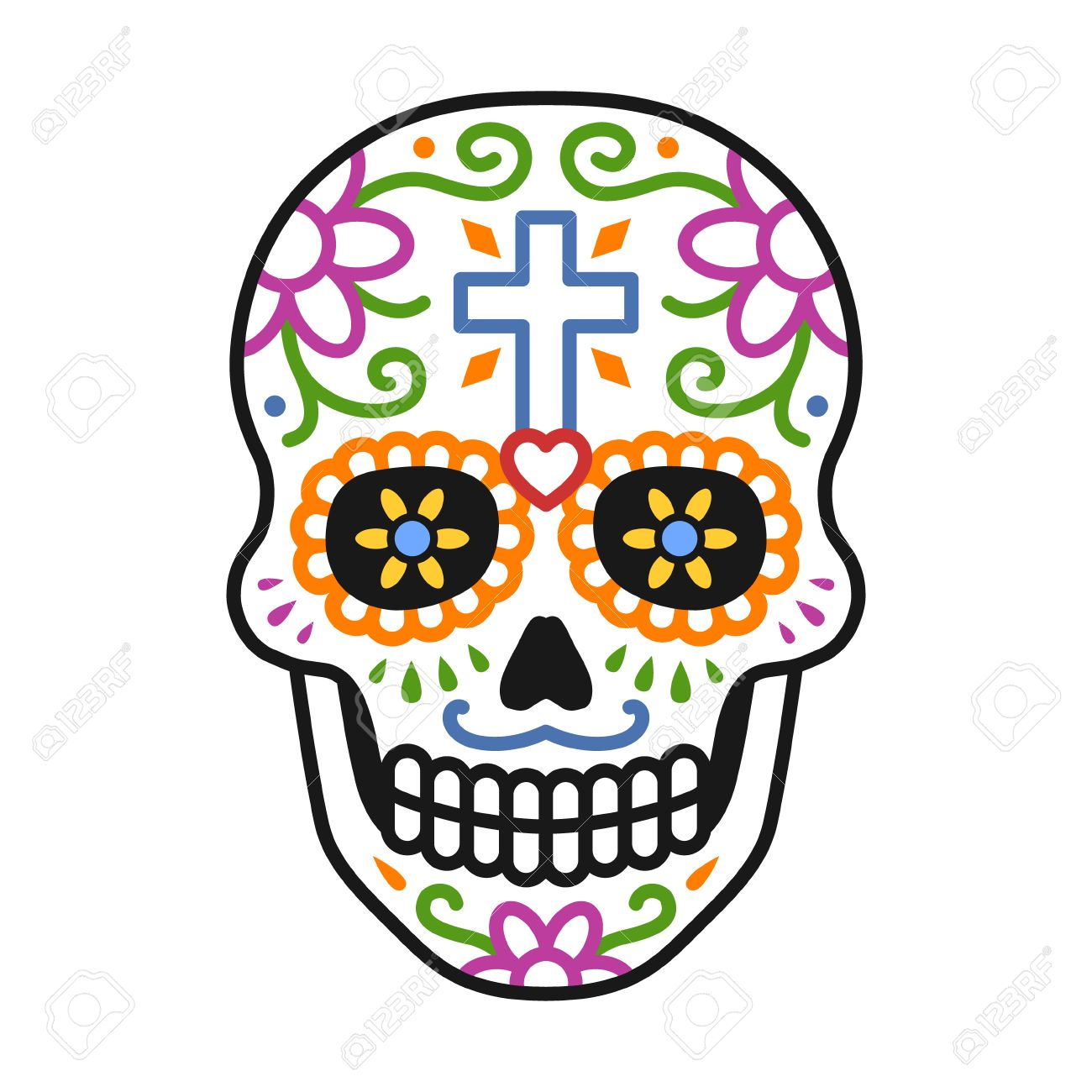 hight resolution of decorated skull calavera celebrating day of the dead line colorful art icon illustration stock