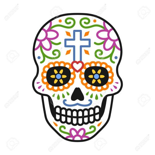 small resolution of decorated skull calavera celebrating day of the dead line colorful art icon illustration stock