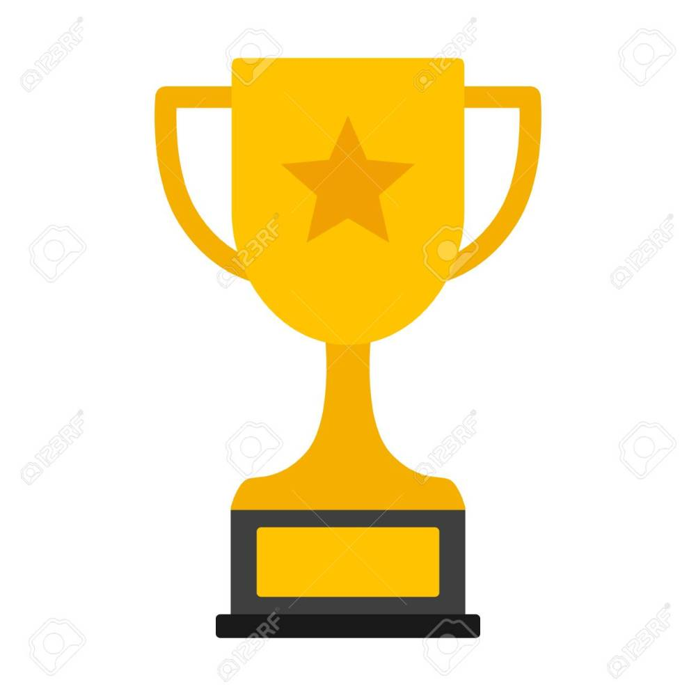 medium resolution of gold achievement trophy with star for winning championship flat vector icon or illustration stock vector