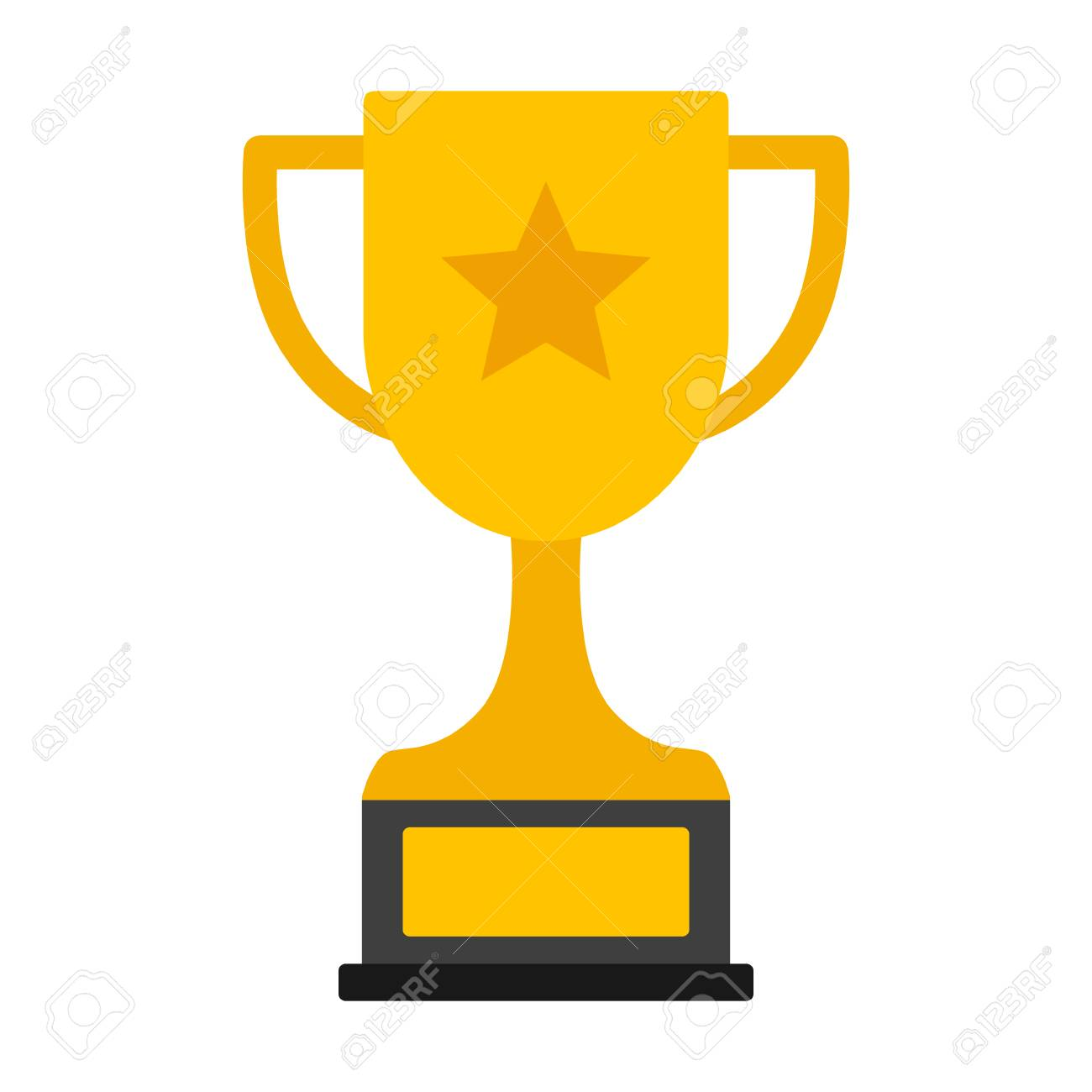 hight resolution of gold achievement trophy with star for winning championship flat vector icon or illustration stock vector