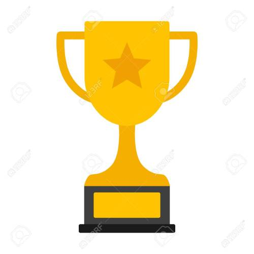 small resolution of gold achievement trophy with star for winning championship flat vector icon or illustration stock vector