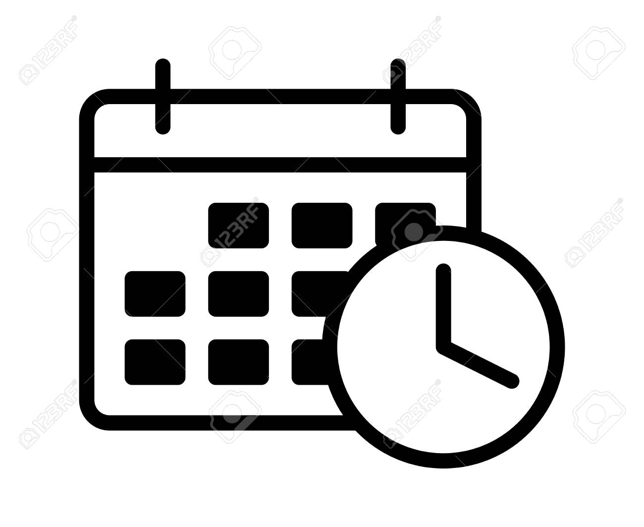 hight resolution of business appointment calendar with time clock line art vector icon for scheduling apps and websites stock
