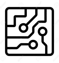 computer chip circuit board semiconductors line art vector icon for apps and websites stock vector  [ 1300 x 1300 Pixel ]