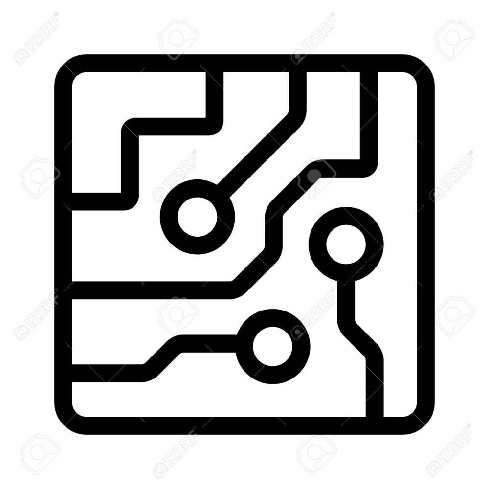 medium resolution of computer chip circuit board semiconductors line art vector icon for apps and websites stock vector