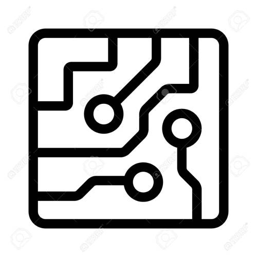 small resolution of computer chip circuit board semiconductors line art vector icon for apps and websites stock vector