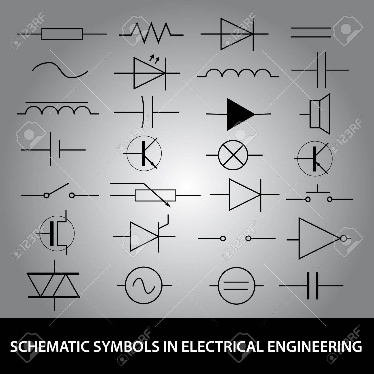 hight resolution of schematic symbols in electrical engineering icon set stock vector 24120410