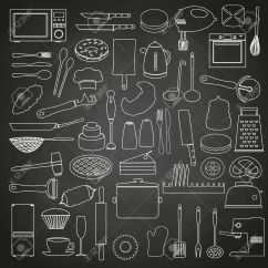 Kitchen Blackboard Farm Table Home Tools And Food Outline Icon On Eps10 Royalty Stock Vector 40463114