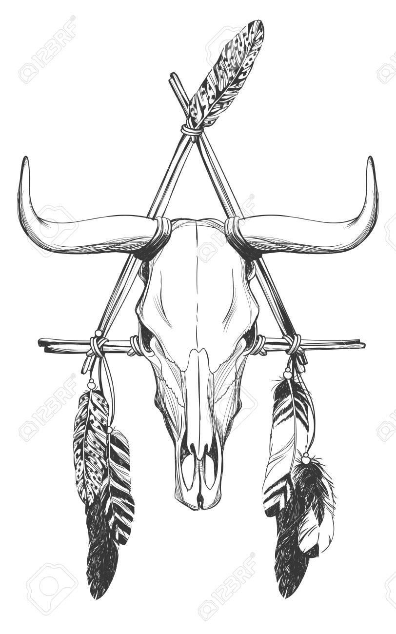 Calavera Con Plumas Y Atrapasueños Talismán Indio Nativo Americano