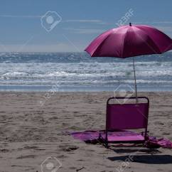 Pink Beach Chair Positions Chairman A And Umbrella On The Stock Photo Picture 25959327