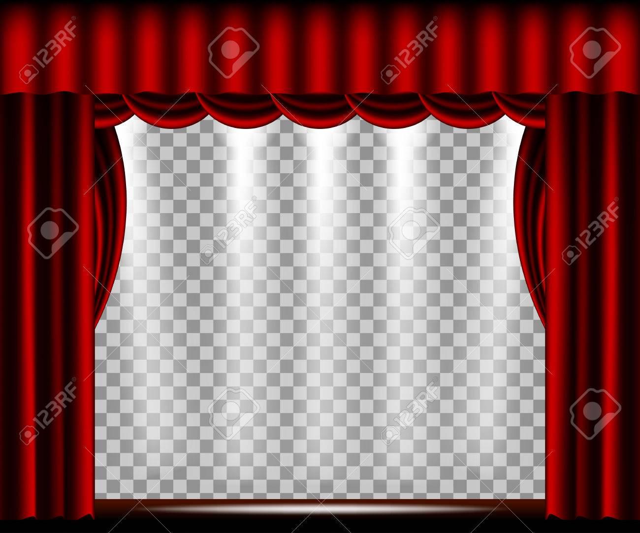 scene de theatre avec rideau rouge projecteurs lumieres et un fond transparent vector illustration