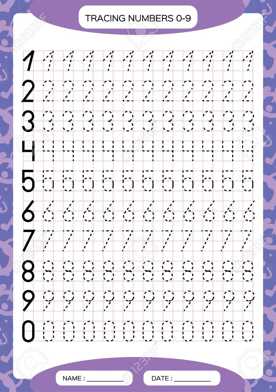 Numbers 0 9 Tracing Worksheet For Kids Preschool Worksheet Royalty Free Cliparts Vectors And Stock Illustration Image 112223872