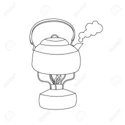 Boiling Steaming Kettle With Water On The Gas Burner Outline Royalty Free Cliparts Vectors And Stock Illustration Image 97451072
