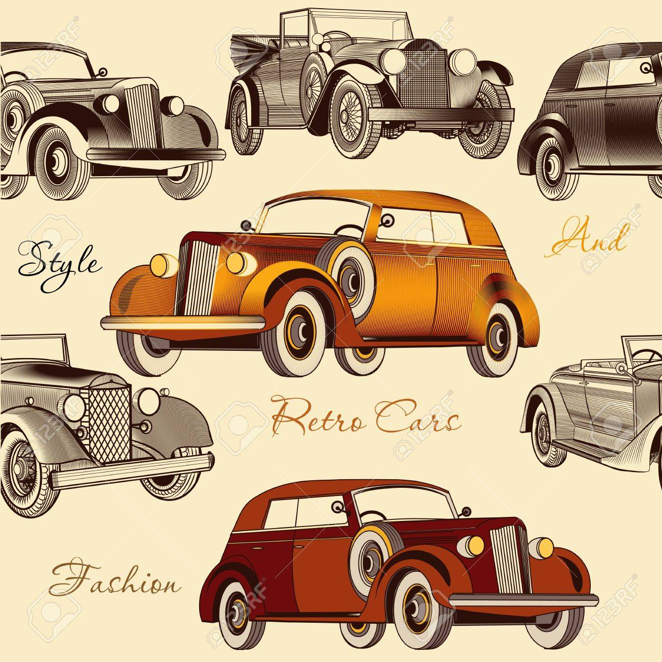 Download and use 30,000+ 4k wallpaper stock photos for free. Vintage Seamless Wallpaper Pattern With Retro Cars Royalty Free Cliparts Vectors And Stock Illustration Image 30820100