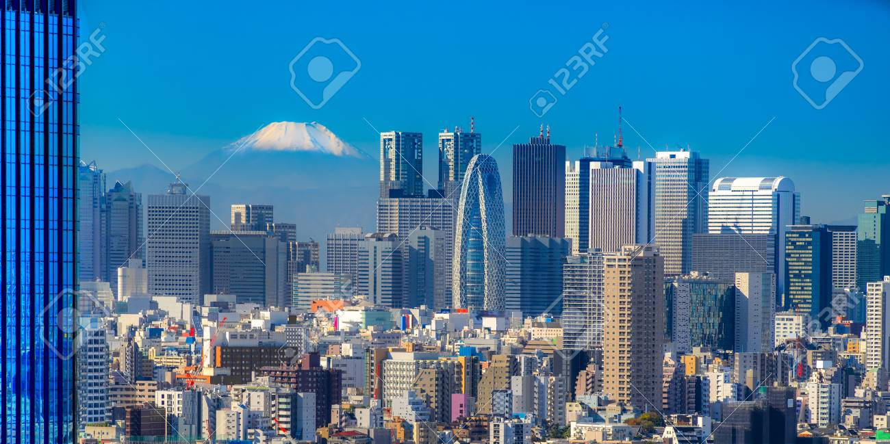 tokyo skyline with mount