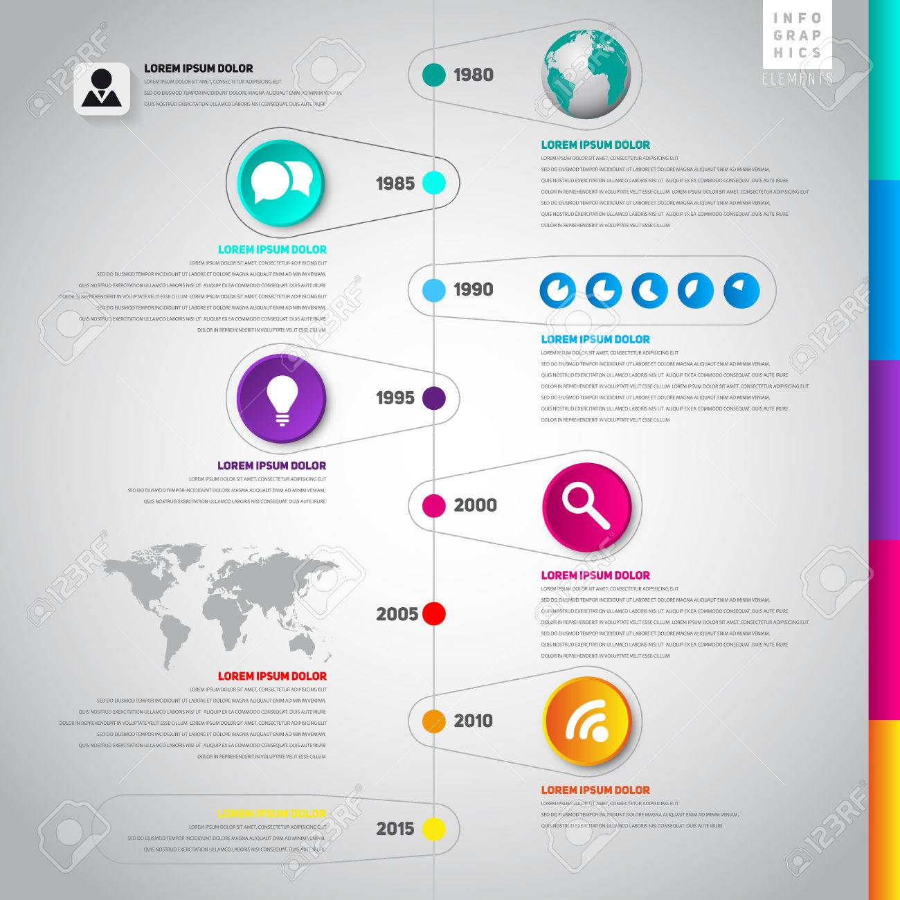 Colorful Flat Timeline Template, Can Be Use For Web Design, Web ...