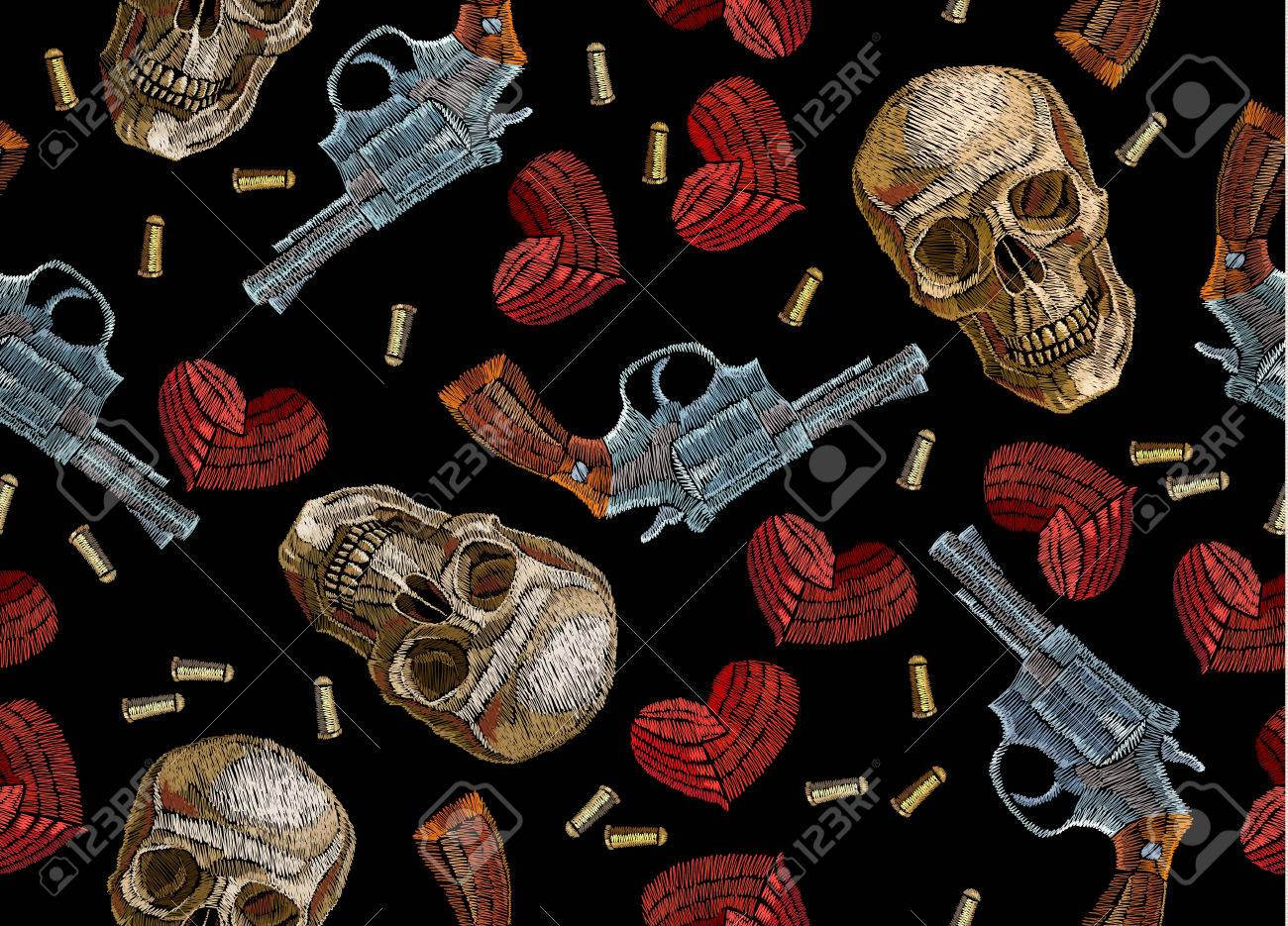 embroidery skulls hearts and