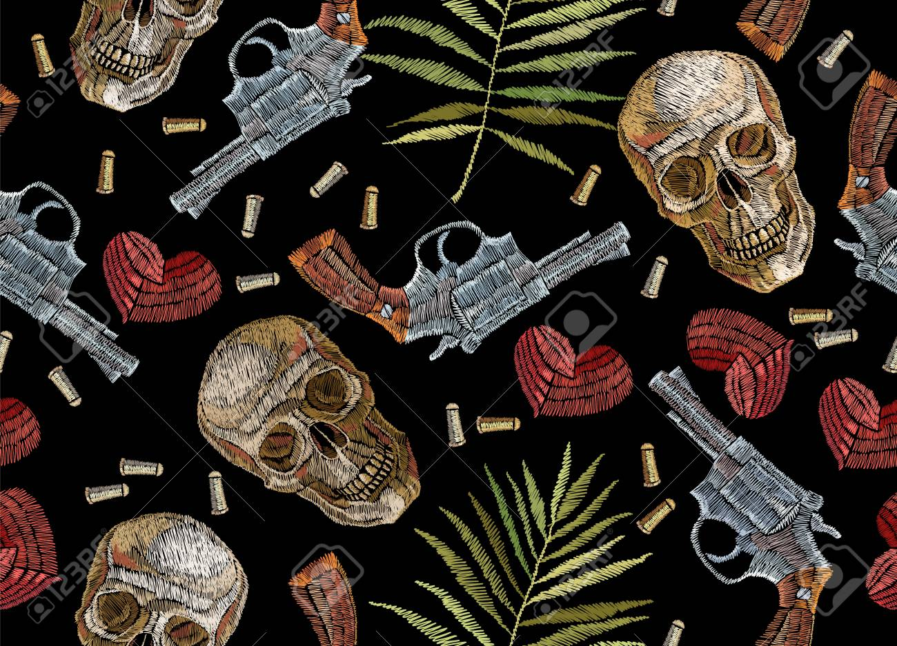 embroidery skulls tropical palm