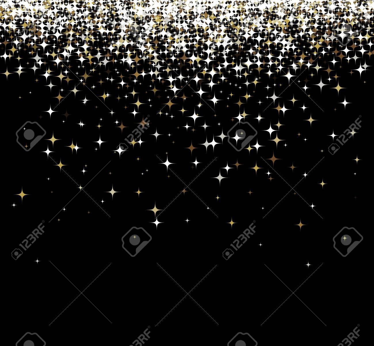 fond noir brillant avec des etoiles d or vector illustration