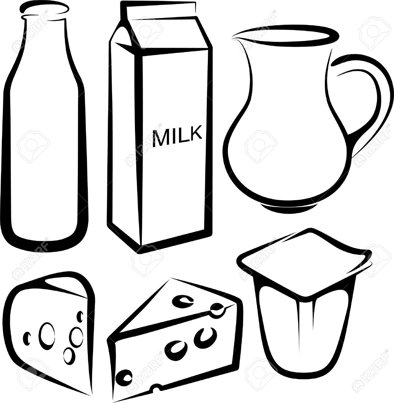 hight resolution of set of dairy products stock vector 9507480