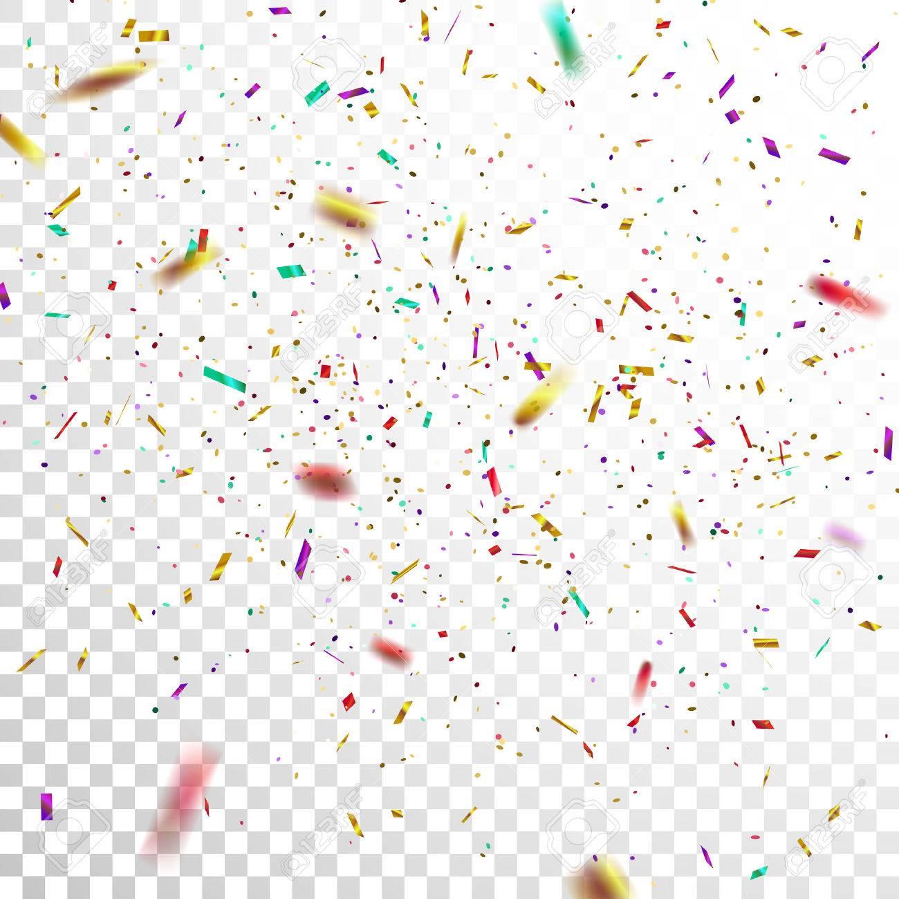 colorful golden confetti vector