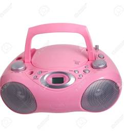pink mp3 stereo cd radio recorder isolated stock photo 16875096 [ 1300 x 1300 Pixel ]