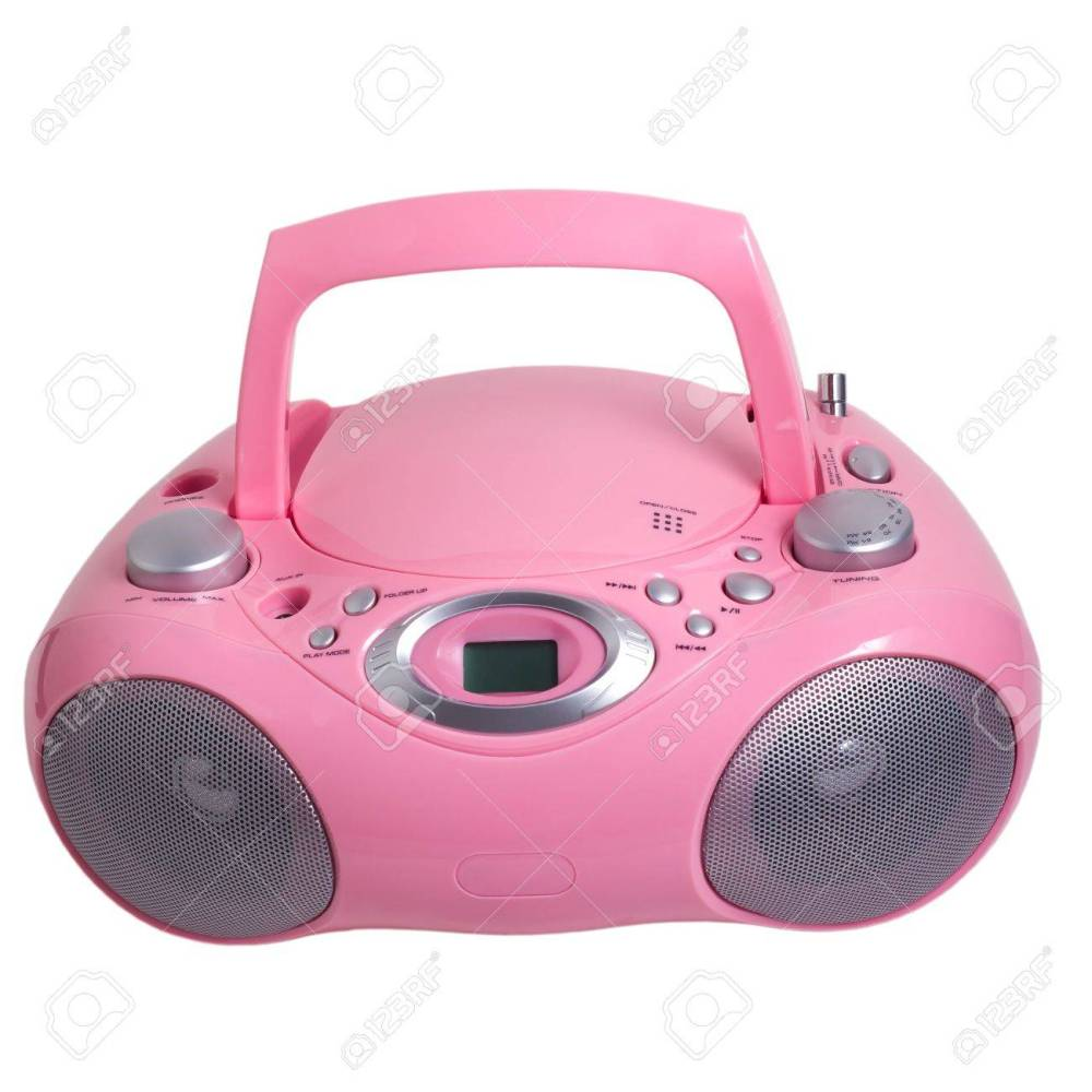 medium resolution of pink mp3 stereo cd radio recorder isolated stock photo 16875096