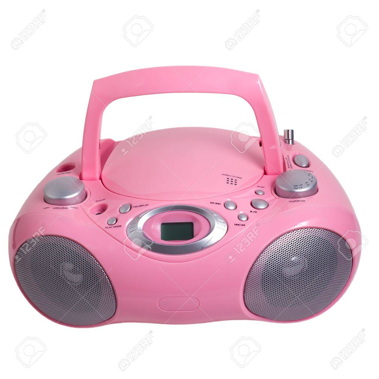 hight resolution of pink mp3 stereo cd radio recorder isolated stock photo 16875096