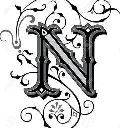 beautifully decorated english alphabets letter n stock vector 27143225 [ 1150 x 1300 Pixel ]