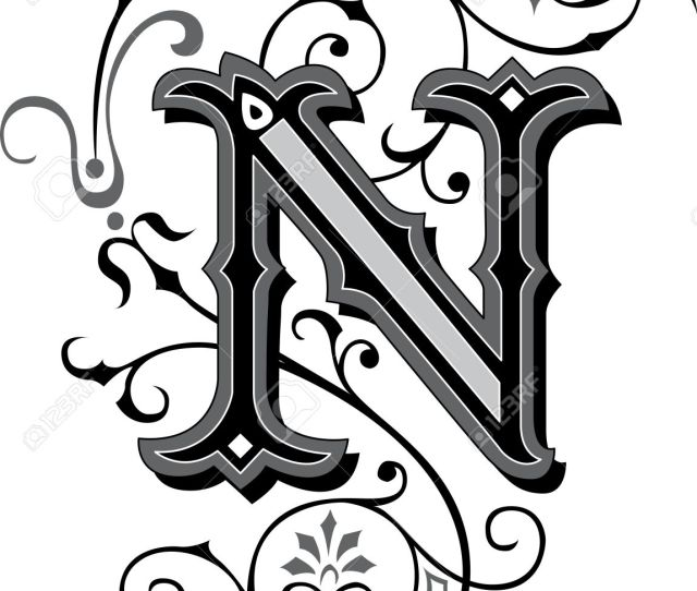 Beautifully Decorated English Alphabets Letter N Stock Vector 27143225