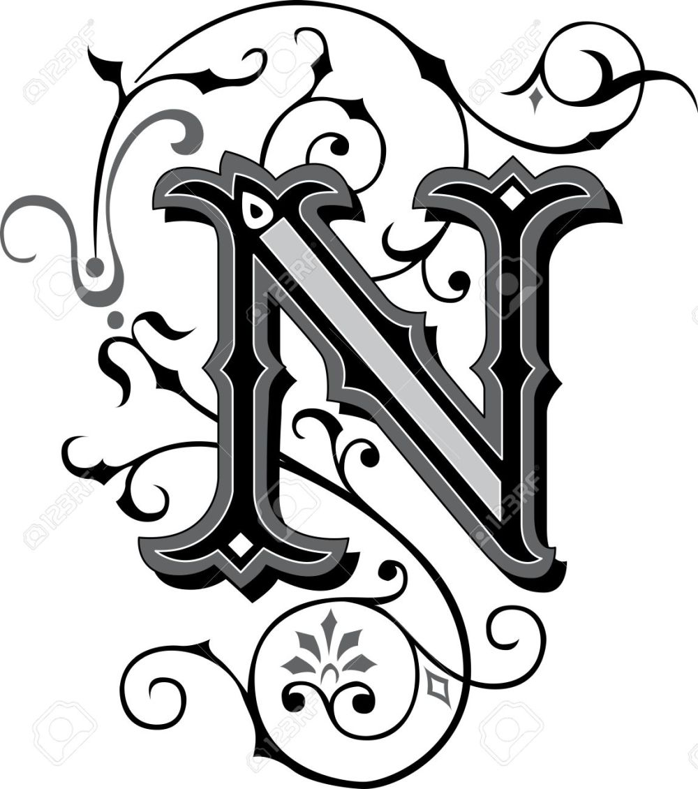 medium resolution of beautifully decorated english alphabets letter n stock vector 27143225