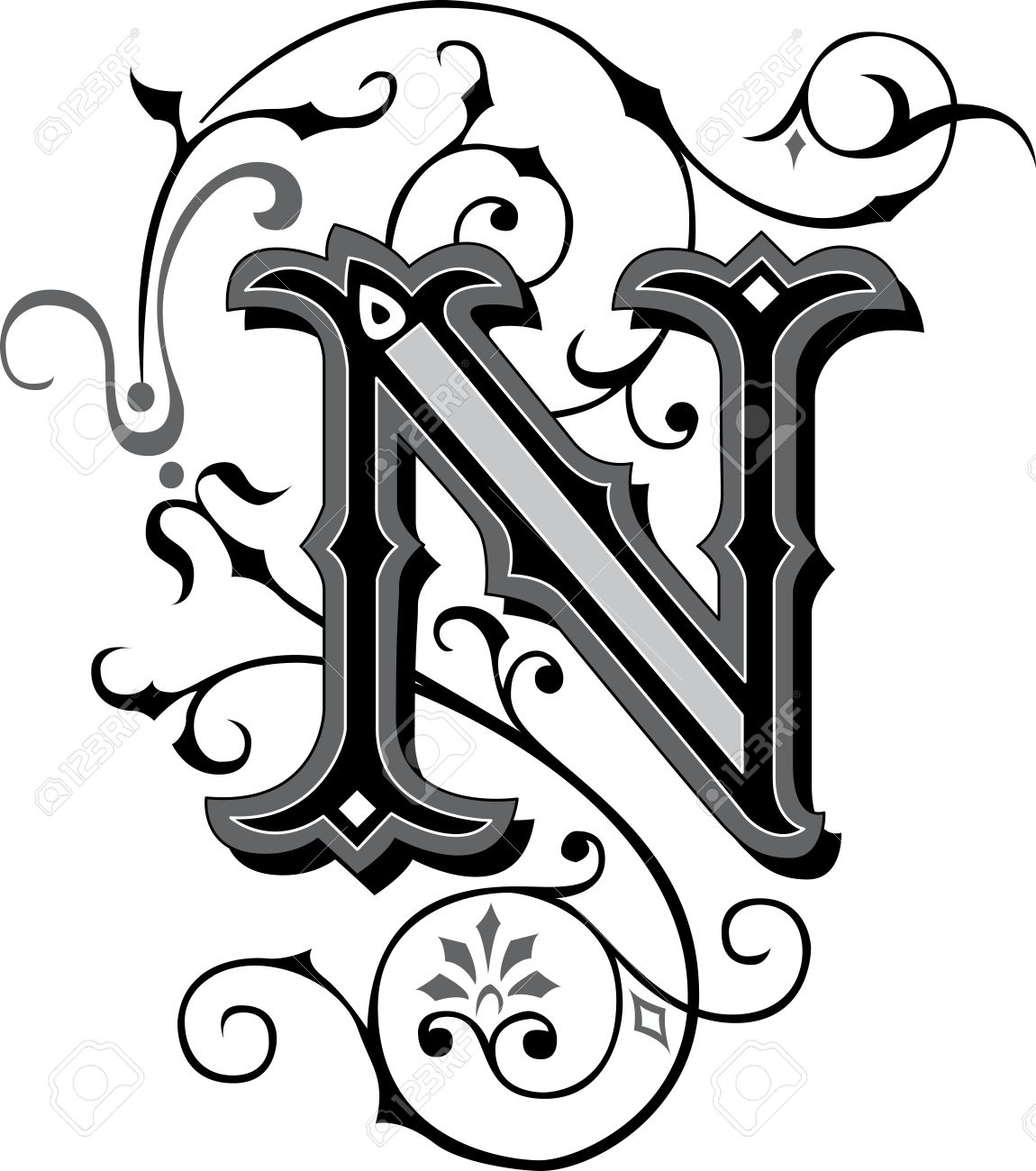hight resolution of beautifully decorated english alphabets letter n stock vector 27143225