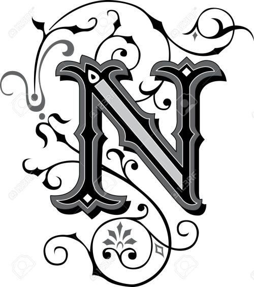 small resolution of beautifully decorated english alphabets letter n stock vector 27143225