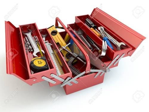 small resolution of toolbox with tools on white isolated background 3d