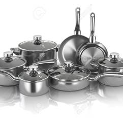 Kitchen Pots Best Appliance Brand And Pans Set Of Cooking Stainless Steel Utensils Illustration Cookware 3d