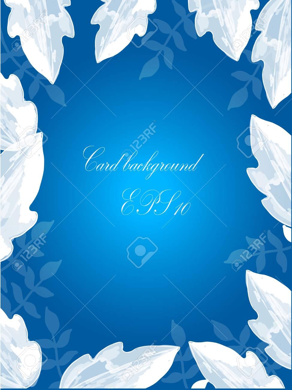 blue invitation card background design and white leaf