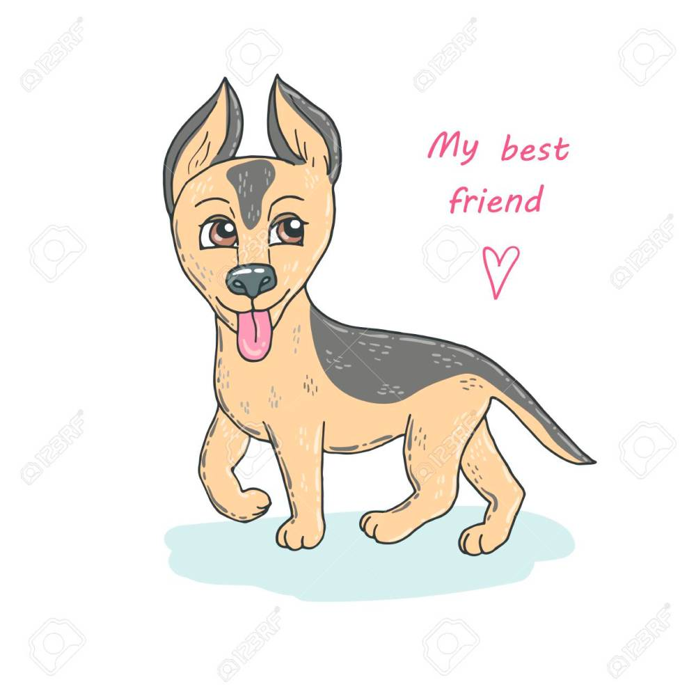 medium resolution of cute dog breed german shepherd puppy stock vector 88281545