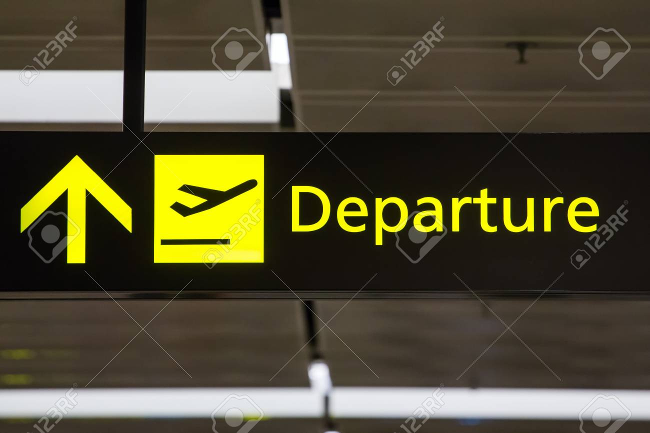 departure sign in the
