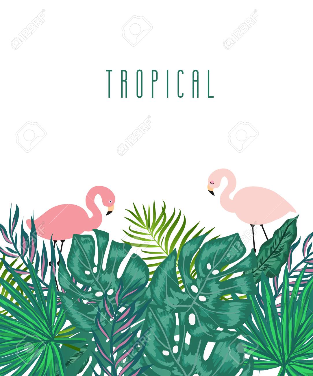 Summer Tropical Background : summer, tropical, background, Vertical, Green, Summer, Tropical, Background, Exotic, Leaves.., Royalty, Cliparts,, Vectors,, Stock, Illustration., Image, 96313270.
