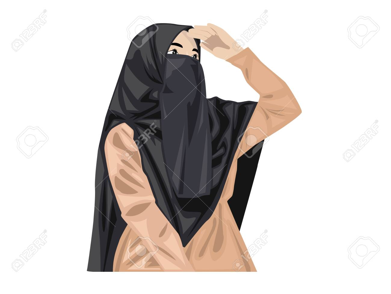 Visit our collection for more cartoons about the burqa. Beautiful Muslim Women With Niqab Cartoon Of Islamic Women In Niqab Royalty Free Cliparts Vectors And Stock Illustration Image 145060701
