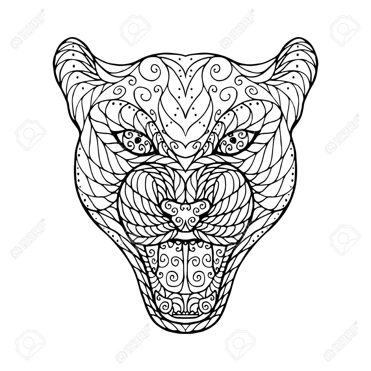 Zen Tangle Head Of Jaguar For Adult Anti Stress Coloring Page