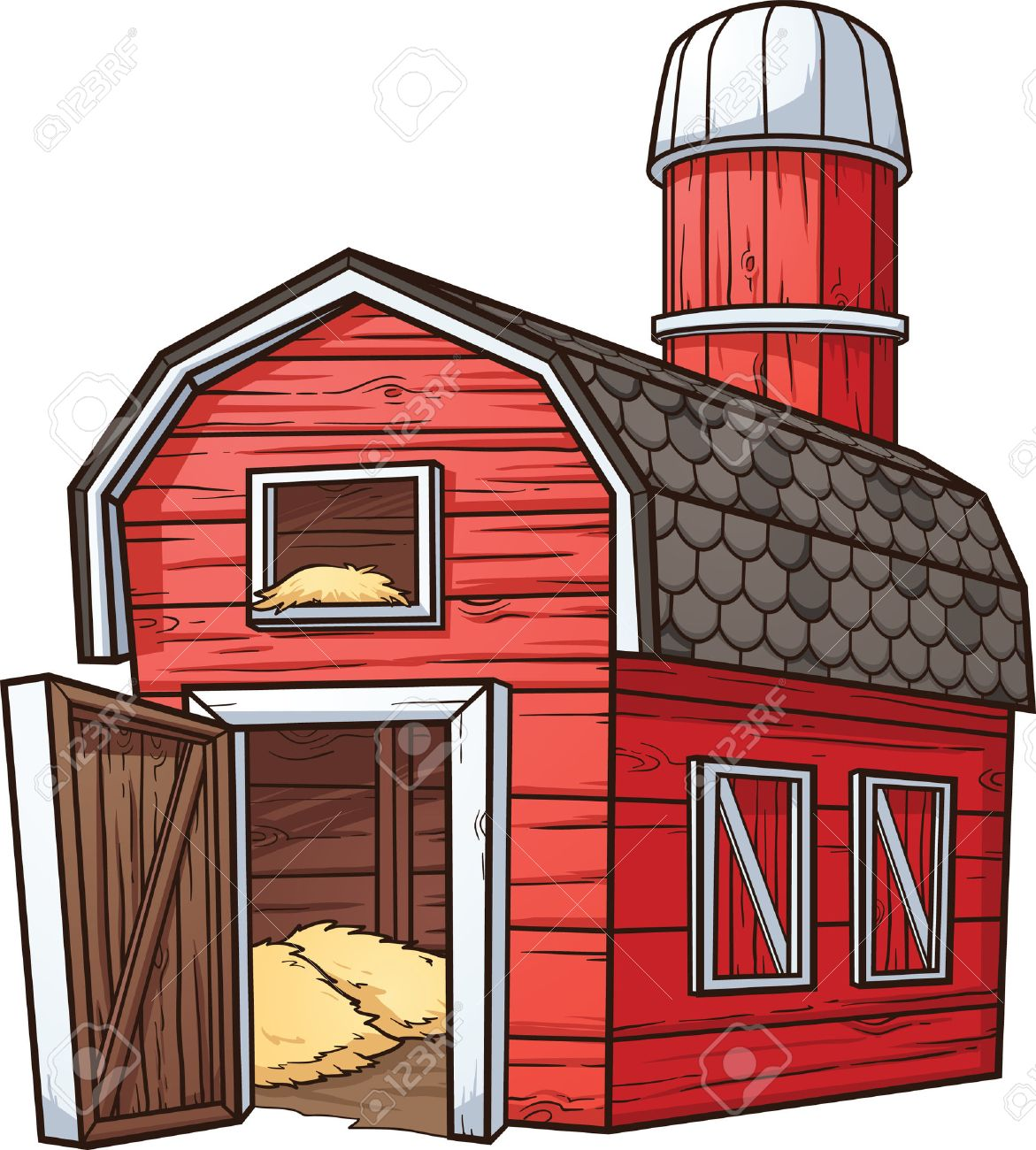 hight resolution of red cartoon barn stock vector 26036677