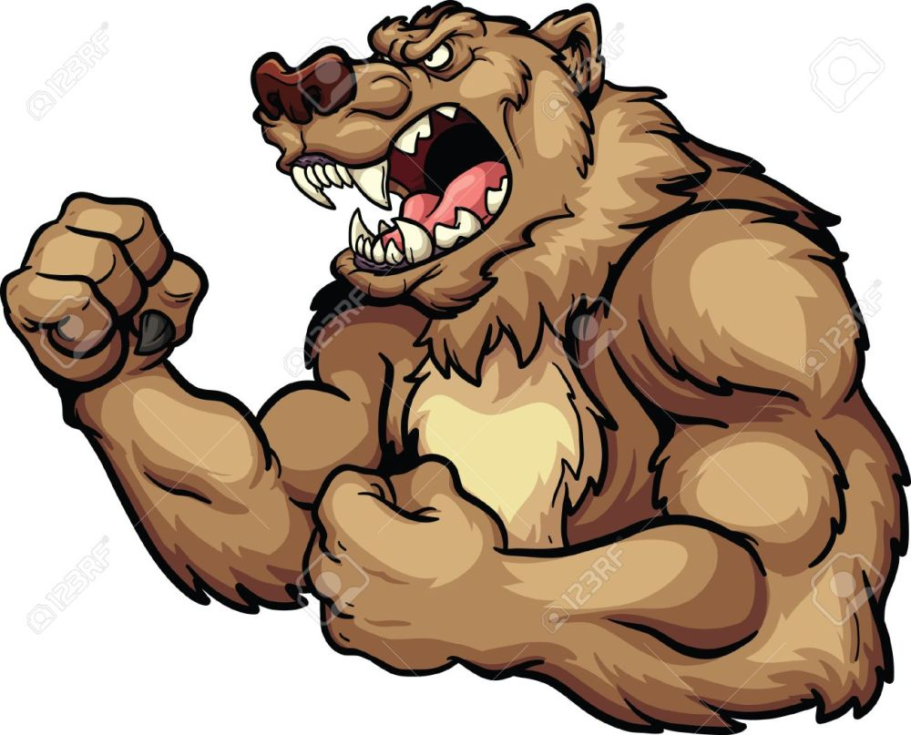 medium resolution of angry bear mascot vector clip art illustration all in a single layer stock