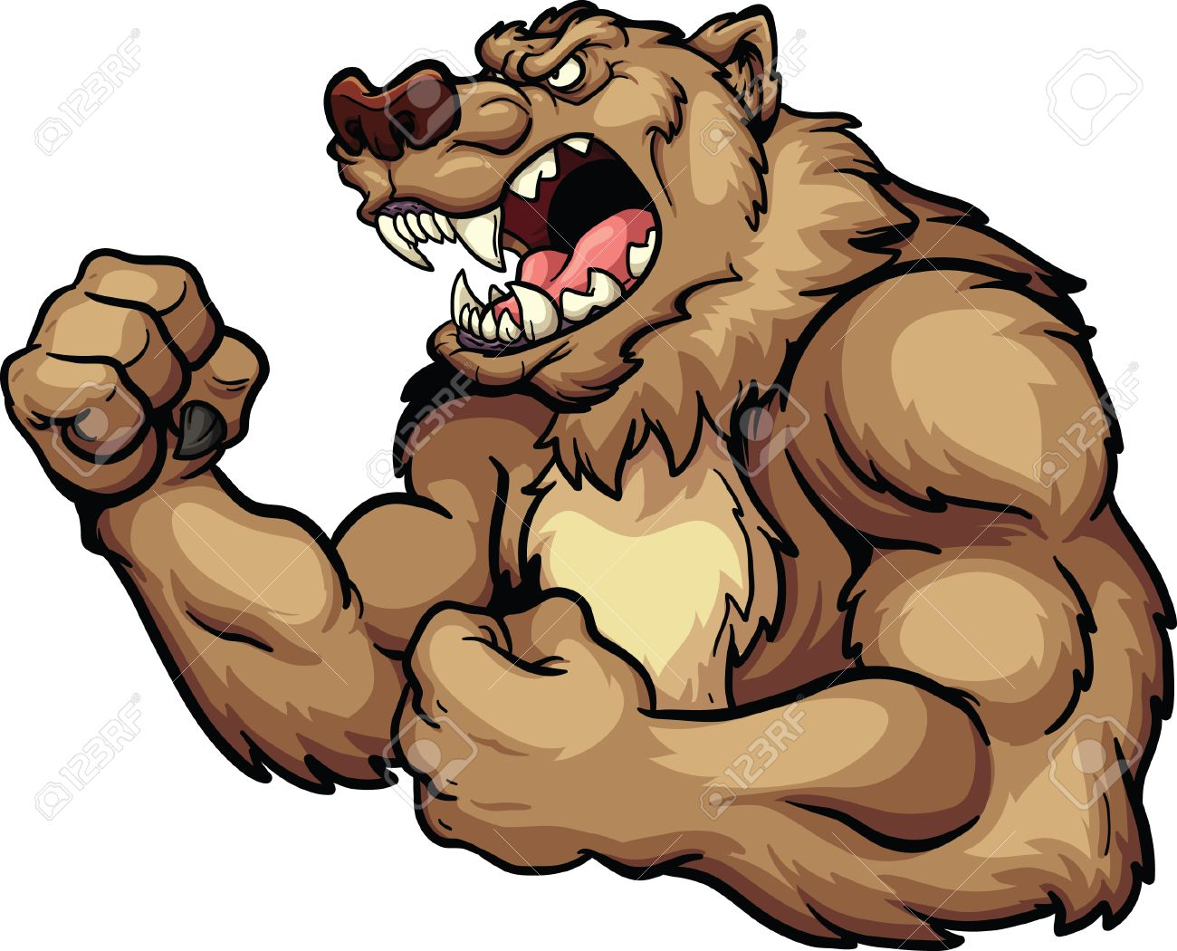 hight resolution of angry bear mascot vector clip art illustration all in a single layer stock