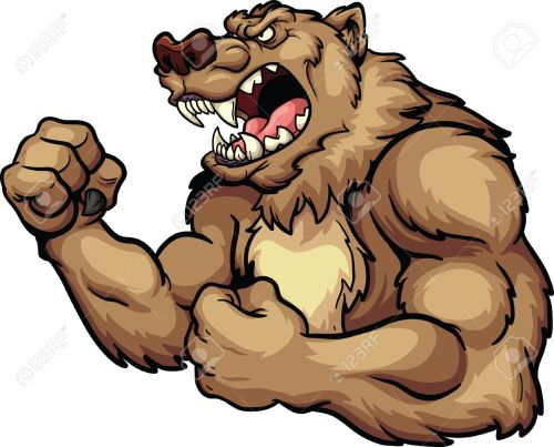small resolution of angry bear mascot vector clip art illustration all in a single layer stock