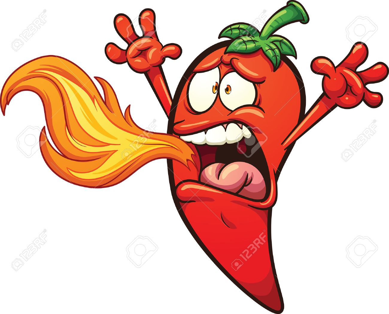 hight resolution of spicy chili pepper breathing fire vector clip art illustration with simple gradients pepper and