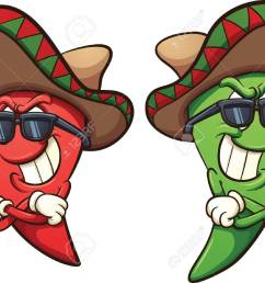 mexican red and green chili peppers vector clip art illustration with simple gradients shades [ 1300 x 957 Pixel ]