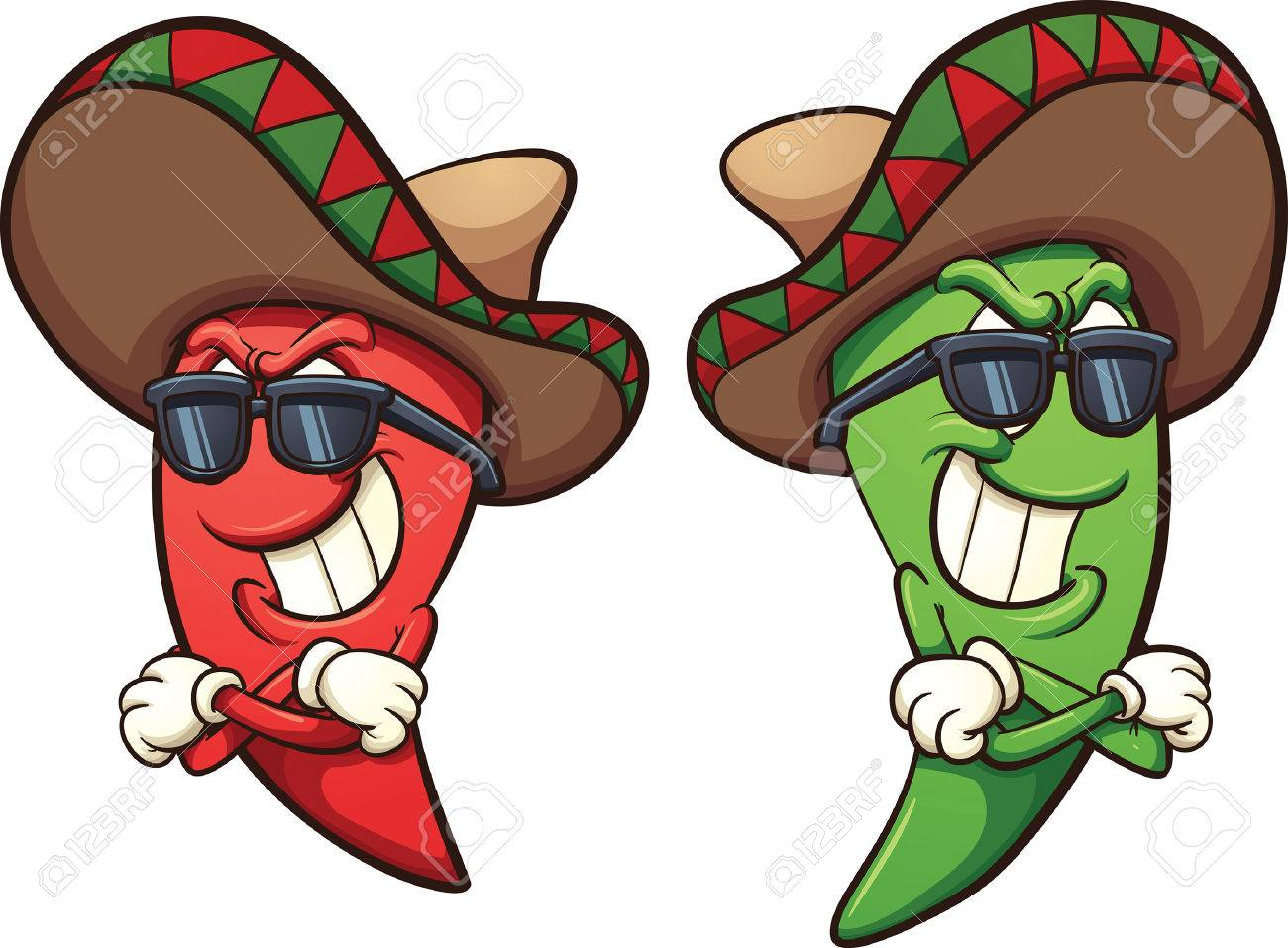 hight resolution of mexican red and green chili peppers vector clip art illustration with simple gradients shades