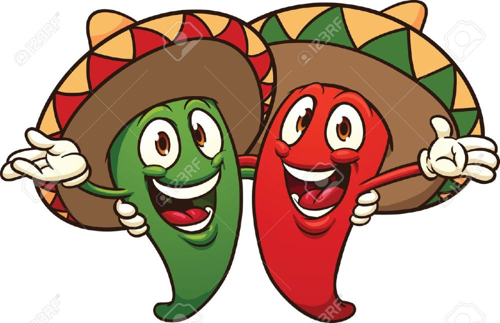medium resolution of happy cartoon mexican chili peppers vector clip art illustration with simple gradients all in